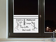 Graz Design 980144_110x57 Sichtschutzfolie Fenstertattoo Fensteraufkleber Deko für Küche Gerichte Italien italienisch Schrift (Größe=110x57cm)