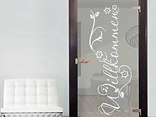 Graz Design 980214_50 Glasdekor Glastür Aufkleber Milchglas für Flur Eingang Willkommen Spruch (Größe=132x50cm)
