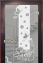 Graz Design 980222_30 Glasdekor Glastür Aufkleber Milchglas für Flur Eingang Spruch Home Sweet (Größe=79x30cm)