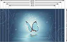 Graz Design 991087_80x57 Sichtschutz Fensterfolie Farbige Folie für Wohnzimmer Schmetterling blau (Größe=80x57cm)