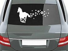 graz-design Auto-Aufkleber für Heckscheibe Pferd Sterne Blumen   Heckscheiben-Aufkleber selbstklebend an Fenster/Seiten (35x70cm//023 creme)
