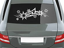 graz-design Auto-Aufkleber für Heckscheibe Sterne Tribal geschwungene Linien   Heckscheiben-Aufkleber selbstklebend an Fenster/Seiten (26x70cm//070 schwarz)