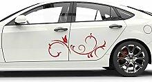 Graz Design Auto Aufkleber Seitenaufkleber Tuning Sticker Tribal Schmetterling Ranke (2St. je 64x28cm//340 marone)