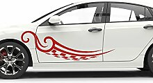 Graz Design Auto-Aufkleber Seitenaufkleber Tuning Sticker Tribal Cartattoo Zielflagge (2St. je 201x57cm//555 gletscherblau)