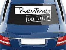 graz-design Autoaufkleber Auto Heck Aufkleber für Heckscheibe Spruch Rentner on Tour Rahmen (70x31cm//932 graphit metallic)