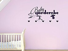 Graz Design® Wandtattoo Garderobe 5 Haken Deko für Kinderzimmer Baby Storch Herz Schnuller (88x45cm // 821 magnolia // Haken 5Stück)