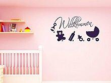 Graz Design® Wandtattoo Garderobe inkl. 5 Wandhaken für Kinderzimmer Spruch Willkommen Baby (88x45cm // 020 goldgelb // Haken 5Stück)