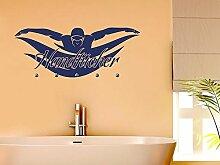 Graz Design® Wandtattoo Garderobe mit 5 Haken Badezimmer Schwimmer Handtücher Bad (113x45cm // 022 shellgelb // Haken 5Stück)