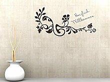 Graz Design® Wandtattoo Garderobe mit 5 Haken Flur Herzlich Willkommen Ornamente Spruch (94x45cm // 042 flieder // Haken 5Stück)