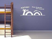 Graz Design® Wandtattoo Garderobe mit 5 Haken Kinderzimmer Achtung bewachte Garderobe (111x45cm // 056 lichtblau // Haken 5Stück)