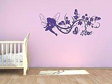Graz Design® Wandtattoo Garderobe mit 5 Haken Kinderzimmer Fee Elfe Mädchen Schmetterlinge (102x45cm // 052 azurblau // Haken 5Stück)