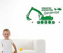 Graz Design® Wandtattoo Garderobe mit 5 Haken Kinderzimmer Jungs Bagger Meine Eigene (95x45cm // 091 gold // Haken 5Stück)