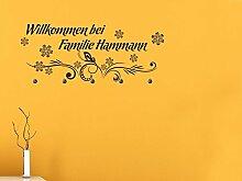 Graz Design® Wandtattoo Garderobe mit 5 Haken Willkommen mit Wunschname Flur Eingang (109x45cm // 080 braun // Haken 5Stück)