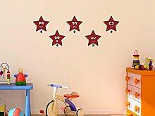 Graz Design® Wandtattoo Garderobe mit 5 Wandhaken Kinderzimmer lustige Sternchen Sterne (127x45cm // 072 hellgrau // Haken 5Stück)