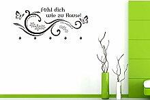Graz Design® Wandtattoo Tattoo Garderobe inkl. 5 Haken für Flur Spruch Fühl dich wie zu Hause (107x45cm // 073 dunkelgrau // Haken 5Stück)