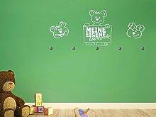 Graz Design® Wandtattoo Tattoo Garderobe inkl. 5 Haken für Kinderzimmer Koalabären (107x45cm // 073 dunkelgrau // Haken 5Stück)