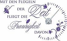 graz-design Wandtattoo Wanduhr für Wohnzimmer Spruch Zitat, lavendelfarben, Horloge argen