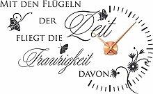 Graz Design Wandtattoo Wanduhr für Wohnzimmer Spruch Zitat, 073 Dark grey, Copper clock