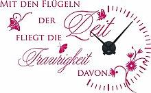 graz-design Wandtattoo Wanduhr für Wohnzimmer Spruch Zitat, Rose Bonbon, Horloge noire
