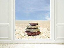 GRAZDesign 220005_90x57_GB_GS Sichtschutzfolie Bad | Fenster- Dusch-Folie/Farbig Badezimmer Steinturm mit Blume | Glasdekor für Privatsphäre (90x57cm//Glasdekor Set)