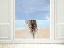 GRAZDesign 220015_90x57_GB_GS Sichtschutzfolie Bad | Fenster- Dusch-Folie/Farbig Feder Vogelfeder | Glasdekor für Privatsphäre (90x57cm//Glasdekor Set)