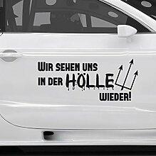 GRAZDesign 740003_20_AF930 Auto-Aufkleber Tattoo für Auto lustiges Spruch Wir Sehen Uns in der Hölle | Heckscheiben-Aufkleber Selbstklebend (47x20cm//930 Gold)