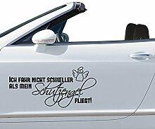 GRAZDesign 740013_20_AF010 Auto-Aufkleber Tattoo für Auto lustiges Spruch Spruch Ich Fahre Schutzengel Engel | Heckscheiben-Aufkleber Selbstklebend (43x20cm//010 Weiß)