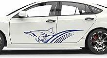 GRAZDesign 740196_2x28SP_048G Auto-Aufkleber Seitenaufkleber Tuning Sticker Wellen Tribal Delfin Linien (2St. je 108x28cm//048 Bordeaux)
