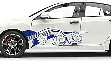 GRAZDesign 740215_2x28SP_591G Auto-Aufkleber Seitenaufkleber Tuning Sticker Cartattoo Wellen Sport Surfen (2St. je 92x28cm//591 Mitternachtsblau)