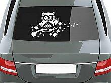 GRAZDesign 740560_70x39_591G Auto-Aufkleber für Heckscheibe Eule winkt Süß AST Sterne Blüten | Heckscheiben-Aufkleber Selbstklebend an Fenster/Seiten (39x70cm//591 Mitternachtsblau)