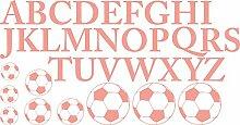 GRAZDesign 770046_57_819 Wandtattoo ABC Alphabet mit Fußbälle | Für 1. Klasse Oder Vorschulkinder | Geschenk zur Einschulung | Lernhilfe mit Wand-Dekoration (109x57cm//819 Dalhia Pink)