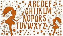 GRAZDesign 770054_57_083 Wandtattoo ABC Buchstaben Fee Sterne | Für 1. Klasse Oder Vorschulkinder | Geschenk zur Einschulung | Lernhilfe mit Wand-Dekoration (100x57cm//083 haselnussbraun)