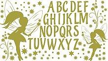 GRAZDesign 770054_57_826 Wandtattoo ABC Buchstaben Fee Sterne | Für 1. Klasse Oder Vorschulkinder | Geschenk zur Einschulung | Lernhilfe mit Wand-Dekoration (100x57cm//826 Oasis)