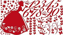 GRAZDesign 770055_57_031 Wandtattoo Zahlen Prinzessin Frosch | Für 1. Klasse Oder Vorschulkinder | Geschenk zur Einschulung | Lernhilfe mit Wand-Dekoration (100x57cm//031 Rot)
