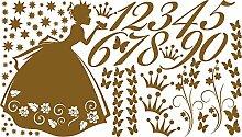 GRAZDesign 770055_57_091 Wandtattoo Zahlen Prinzessin Frosch | Für 1. Klasse Oder Vorschulkinder | Geschenk zur Einschulung | Lernhilfe mit Wand-Dekoration (100x57cm//091 Gold)