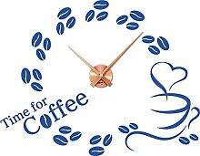 GRAZDesign 800031_KF_052 Wandtattoo Uhr Küche Wanduhr mit Uhrwerk | Wand-Spruch Time for Coffee Kaffeebohnen (73x57cm//052 Azurblau//Uhrwerk Kupfer)