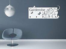 GRAZDesign 970031_45_073 Wandtattoo Garderobe mit 5 Haken Eingang Schmetterlinge mit Ornament Flur (104x45cm//073 dunkelgrau//Haken 5Stück)