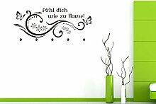 GRAZDesign 970053_45_073 Wandtattoo Tattoo Garderobe inkl. 5 Haken für Flur Spruch Fühl dich wie zu Hause (107x45cm//073 dunkelgrau//Haken 5Stück)