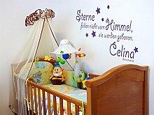 GRAZDesign Babybett Aufkleber Spruch für Geburt -