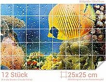 GRAZDesign Badezimmer Fliesenaufkleber Korallen -