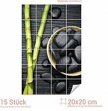 GRAZDesign Fliesenaufkleber Bambus/Massagesteine