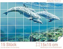 GRAZDesign Fliesenaufkleber Delfinen unter Wasser