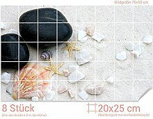GRAZDesign Fliesenaufkleber Steine/Muscheln/Sand