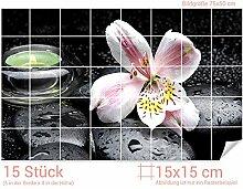 GRAZDesign Fliesenaufkleber Steine und Lilie