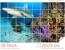GRAZDesign Fliesentattoo Bad Hai - Aufkleber für