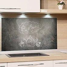 GRAZDesign Küchen-Spritzschutz Glas Grau Küchen