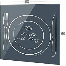 GRAZDesign Küchenspiegel Spruch Küche mit Herz,