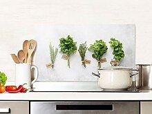 GRAZDesign Spritzschutz Küche Glas Kräuter Grün