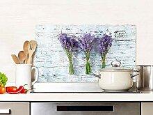 GRAZDesign Spritzschutz Küche Glas Lavendel Grau