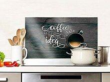 GRAZDesign Spritzschutz Küche Glas Spruch Kaffee